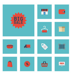 Flat icons label bus payment and other vector
