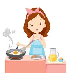 Girl cooking fried egg for breakfast vector