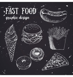 Hand drawn fastfood set Creative vector image vector image