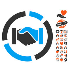 handshake diagram icon with valentine bonus vector image