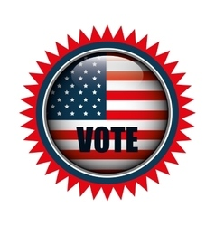 icon button flag usa vote graphic vector image