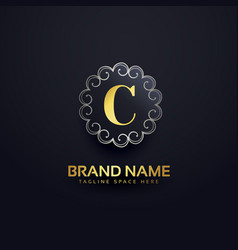 Letter c logo with swirls decoration vector