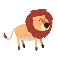 lion cartoon colorful silhouette in white vector image