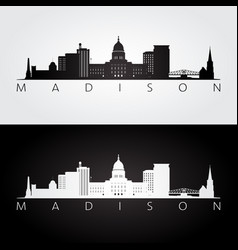 Madison usa skyline and landmarks silhouette vector