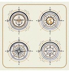 Nautical vintage compass set vector