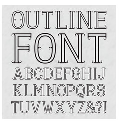 Outline font with flourishes black capital vector