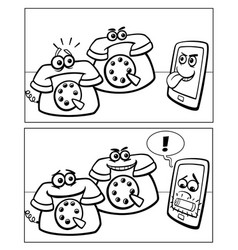Phones and smart phone comics vector