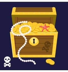 Pirate treasure chest full of gold coins and pearl vector image