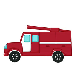 red fire engine car icon cartoon style vector image vector image