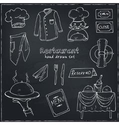 Restaurant doodle set vector