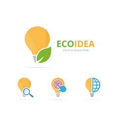 Set of lamp logo combination lightbulb and eco vector