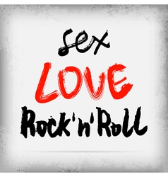 Sex love rocknroll graffiti on the wall vector