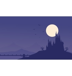 Silhouette of halloween castle and bridge vector