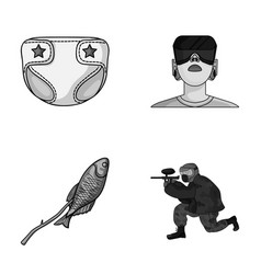 Sport technology and other monochrome icon in vector