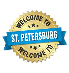 St petersburg 3d gold badge with blue ribbon vector