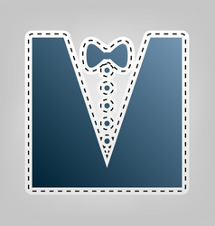 Tuxedo with bow silhouette blue icon with vector
