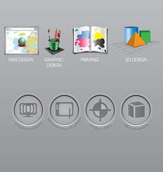 Web design graphic design print and 3d icons col vector image