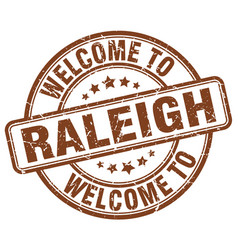 Welcome to raleigh brown round vintage stamp vector