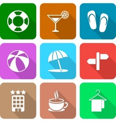 White travel icons with long shadows vol 3 vector