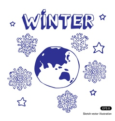 Winter earth vector