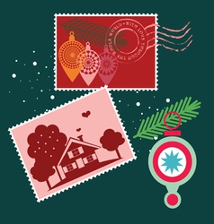 Elements for Christmas post cards vector image