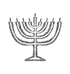 Chanukah candle black silhouette sketch hand vector