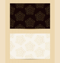 Two sided business card golden ornamental design vector