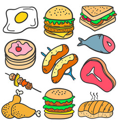 Doodle of food various delicious vector