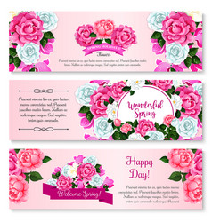 spring flower bouquet for greeting banner template vector image