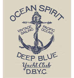 Deep blue ocean spirit yacht club vector