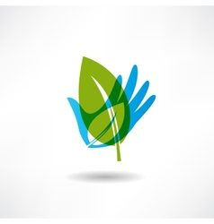 Eco hand and a piece of abstraction icon vector