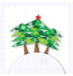 Three green christmas fir trees on the hill on vector