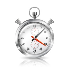 Silver bright stopwatch clock with reflection vector image