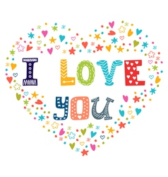 I love you romantic card with heart vector