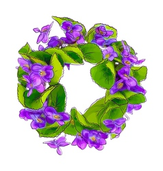 Wreath of woodland violets vector