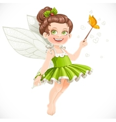 Cute little summer fairy girl with a magic wand vector