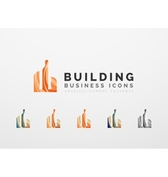 Set of real estate or building logo business icons vector