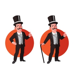 Old aristocrat flat cartoon vector