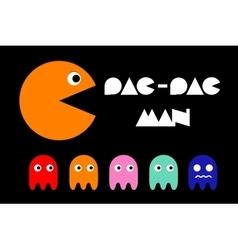 Pac man icon and ghosts Retro computer arcade vector image