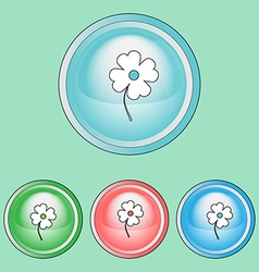 Flower icons set line art style vector