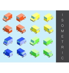 Isometric transport icon set vector