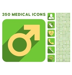 Male symbol icon and medical longshadow icon set vector