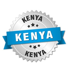 Kenya round silver badge with blue ribbon vector