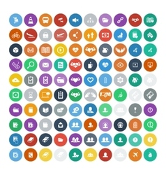 Set of 100 universal icons business internet vector