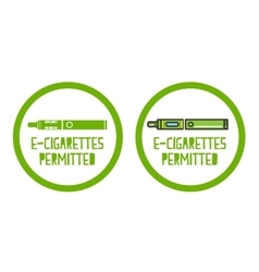 set of electronic cigarettes permitted sign icons vector image