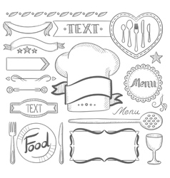 Set of ribbons frames for restaurant menu vector