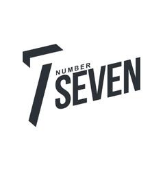 Black and white number seven diagonal logo vector image