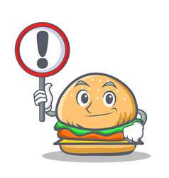 Burger character fast food with sign vector