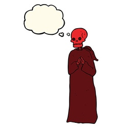Cartoon spooky skeleton in robe with thought vector
