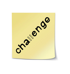 Challenge lettering on sticky note vector